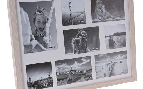 Fotorámeček Memories na 8 fotografií hnědá, 47 x 37 x 3,5 cm