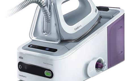 Žehlicí systém Braun CareStyle 5 IS 5043/1 WH bílý/fialový + dárek Žehlicí prkno Braun IB3001BK v hodnotě 2 048 Kč + DOPRAVA ZDARMA