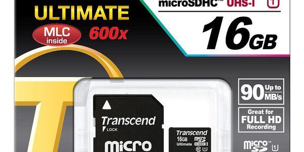 Paměťová karta Transcend 16GB UHS-I U1 (90MB/s) + adapter (TS16GUSDHC10U1)2
