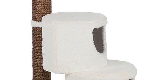 Bílé škrabadlo pro kočky s extra jemným plyšovým potahem