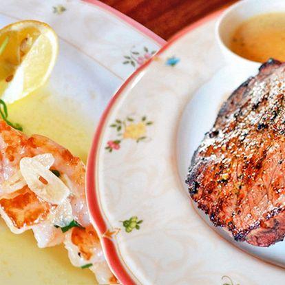 3 chody na zámečku: steak či kachní prsa i víno