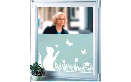 Samolepicí fólie pro okna se vzorem kočky a motýly, 300x45 cm, WENKO