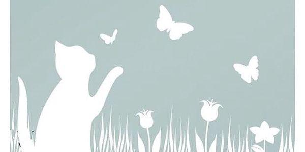 Samolepicí fólie pro okna se vzorem kočky a motýly, 300x45 cm, WENKO2