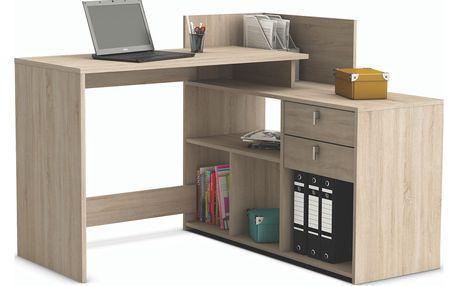CORRIS, univerzální rohový psací stůl, dub sonoma DOPRODEJ