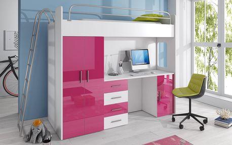 Patrová postel se skříní a psacím stolem RAJS 4D, bílá/růžový lesk