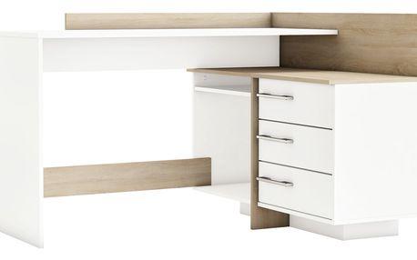 ELPHIN rohový psací stůl, bílá/dub sonoma
