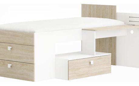 MOWE postel se stolem a šuplíky 90x200 cm, bílá/dub sonoma