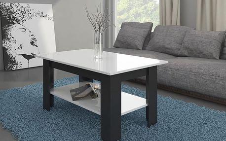 Konferenční stolek ADARA, černá/bílý lesk, 5 let záruka