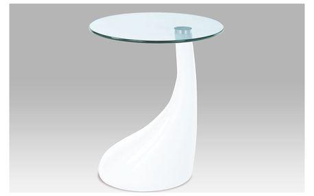 Odkládací stolek KSACT-706 WT, sklo/bílý plast