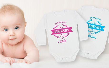 Dětské body s vtipnými nápis podle měsíce narození