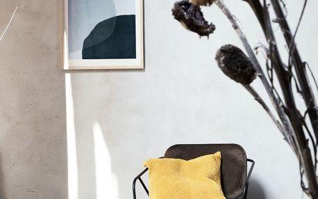House Doctor Obraz v rámu z borovicového dřeva 50 x 70 cm, šedá barva, bílá barva, přírodní barva, sklo, dřevo, papír