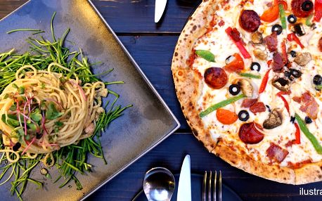 2 italské speciality podle výběru: pizza i pasta
