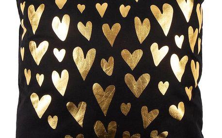 JAHU Polštářek Gold De Lux Srdce černá, 43 x 43 cm