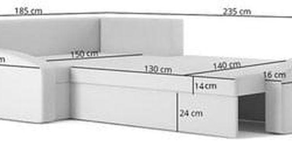 Rozkládací rohová sedací souprava GRANDE Šedá/bílá Levá4