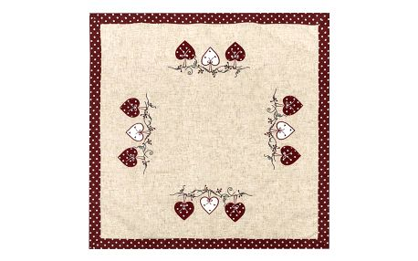 BO-MA Trading Vánoční ubrus Srdíčka puntík červená, 85 x 85 cm