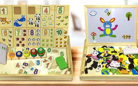 Dřevěné tabulky s obrázky i číslicemi pro děti