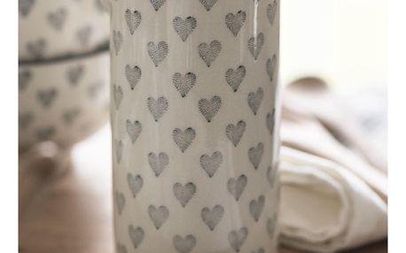IB LAURSEN Džbánek na smetanu Grey Heart 200ml, šedá barva, krémová barva, keramika