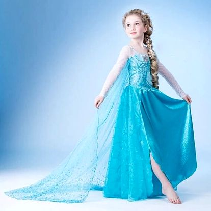 Šaty Frozen princezny Elsy a Anny z Ledového království + korunka, hůlka, copánek a rukavice.