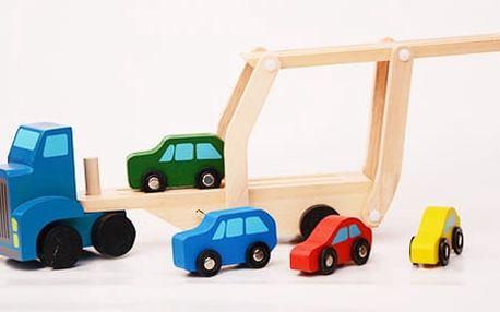 AKCE! Dřevěný tahač s autíčky a návěsem