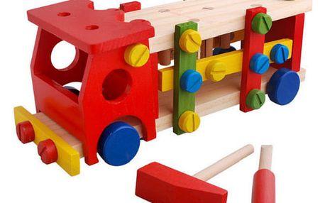 TIP! Dětské dřevěné zatloukací autíčko s kladívkem a šroubovákem