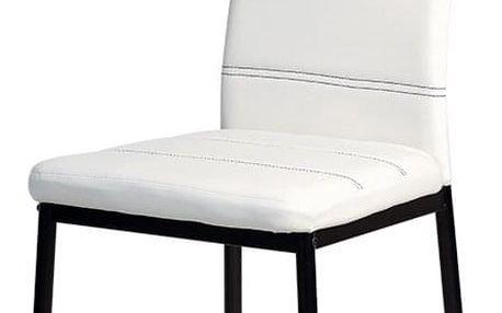 Jídelní židle SINCERE, koženka bílá/černý lak