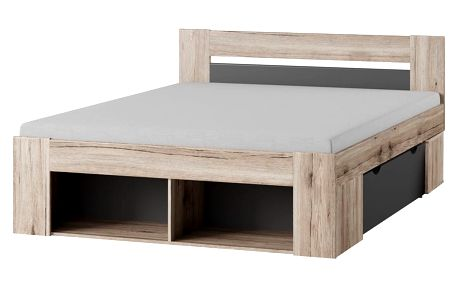 WERN postel 160x200, dub/šedá
