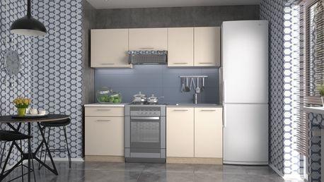 Kuchyně JAYDEN 140/200 cm, korpus: dub sonoma, dveře: vanilka
