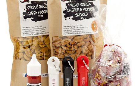 Pálivý chilli balíček: 3× klíčenka, džus, bonbóny, 2× arašídy