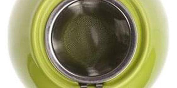 Banquet Bonnet 1,2l Konvička s nerezovým víčkem a sítkem Bonnet zelená OK 60GSSFYT138LG Objem (ml): 700, 300, 140 Počet ks v sadě: 3 Materiál: Keramika, Silikon Barva: Bílá, modrá2