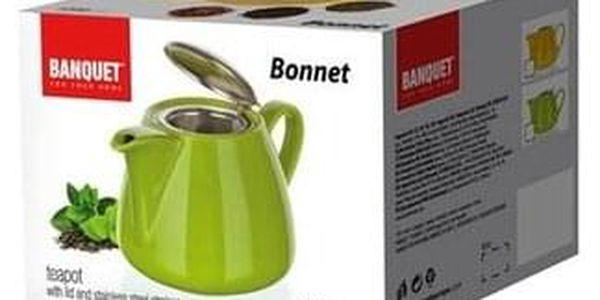 Banquet Bonnet 1,2l Konvička s nerezovým víčkem a sítkem Bonnet zelená OK 60GSSFYT138LG Objem (ml): 700, 300, 140 Počet ks v sadě: 3 Materiál: Keramika, Silikon Barva: Bílá, modrá4