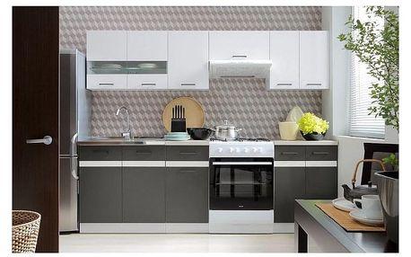 Kuchyně JAMISON 180/240 cm, korpus bílý/dvířka bílý lesk, šedý wolfram