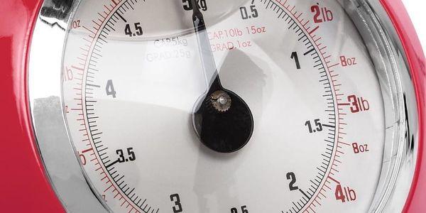 Emako Mechanická váha, kuchyňská váha, designová váha RETRO DESIGN, 5 kg, barva červená2