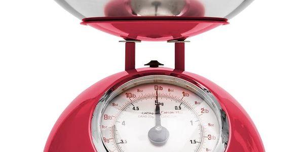Emako Mechanická váha, kuchyňská váha, designová váha RETRO DESIGN, 5 kg, barva červená3