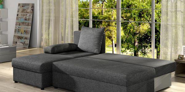 Rohová sedačka GINO 01, tmavě šedá látka2