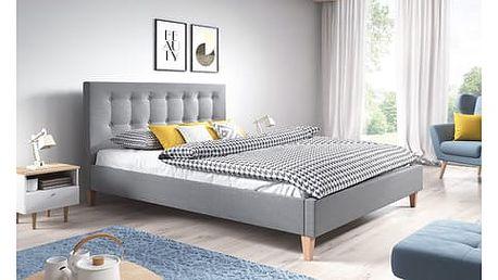 Čalouněná postel DAVID šedá rozměr 180x200 cm