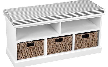 Emako Dřevěná lavice, 3 koše, 2 poličky