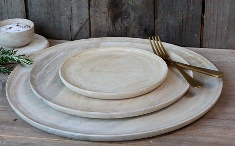 Chic Antique Dřevěný talíř Mango Wood 20cm, přírodní barva, dřevo