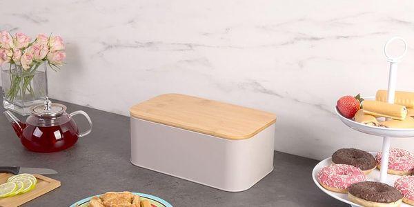 Kovový kontejner na chleba, 2v1 bambusové prkénko - šedá barva, ZELLER3