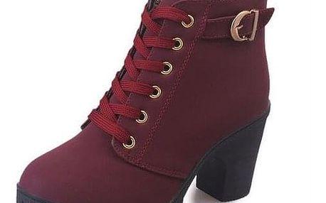 Šněrovací boty na podpatku - různé barvy