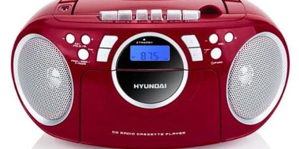 Radiomagnetofon s CD Hyundai TRC 788 AU3RS stříbrný/červený4