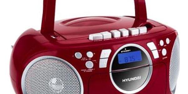 Radiomagnetofon s CD Hyundai TRC 788 AU3RS stříbrný/červený5