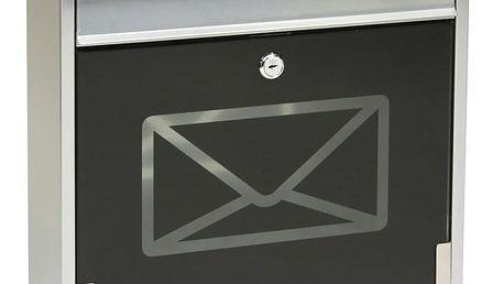 RICHTER BK60.CG.S Poštovní ocelová schránka s tvrzeným sklem, černá