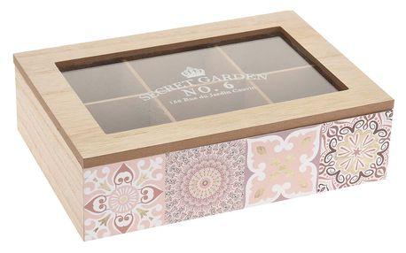 La Cucina Dřevěný box na čaj KYRA DESIGN,6 přihrádek - přírodní dřevo