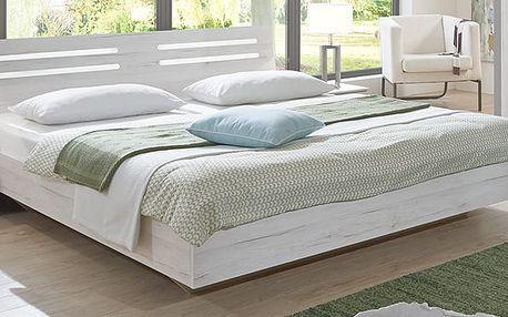 ABRUKA, postel 160x200 cm, bílý dub