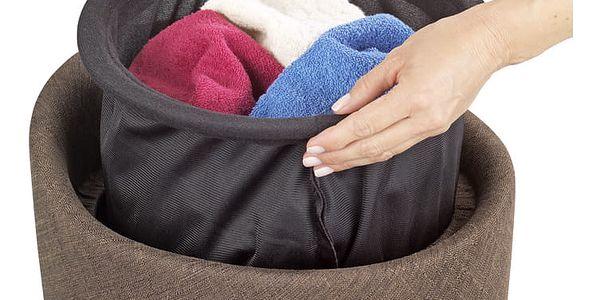 Taburet CANDY BROWN - koš na prádlo, 2 v 1, WENKO5