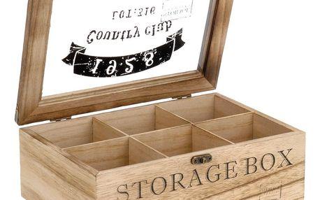 Emako Dřevěná krabička na čaj COUNTRY CLUB 1928 - 6 přihrádek