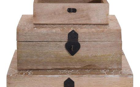 Home Styling Collection Sada 3 dřevěných boxů - přírodní barva dřeva