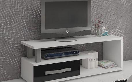 ANGEL TV stolek 1D, bílá/černý lesk