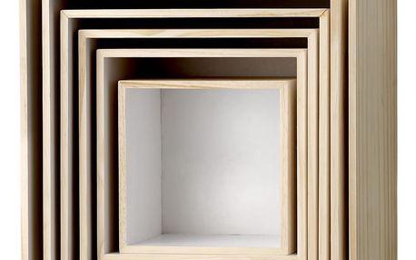 Bloomingville Nástěnný box Nature/White Velikost 3, hnědá barva, dřevo