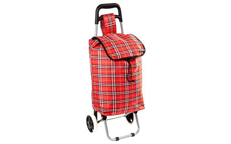 Nákupní taška na kolečkách Kostka červená